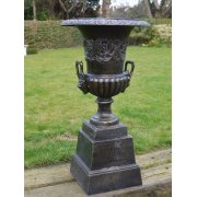 Black Ornate Planter Urn with Base