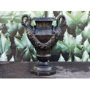 Black Planter Urn with Swan Handles