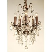 5 Light Small Glass Chandelier, Bronze Finish