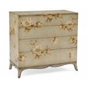 Jonathan Charles Furniture Floral Painted Grey Chest Of Drawers, Shabby Chic
