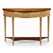Jonathan Charles Furniture Gilded Demilune Console Table with Shelf