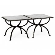 Jonathan Charles Furniture Glass And Iron Set of 2 Coffee Tables