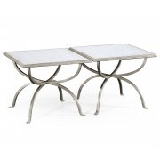 Jonathan Charles Furniture  Set of 2 Silver Glass Coffee Tables