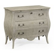 Jonathan Charles Furniture French Grey Painted Bombé Chest of Drawers, Shabby Chic