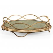 Jonathan Charles Furniture Green Leather Gold Round Serving Tray