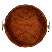 Jonathan Charles Furniture Art Deco Round Serving Tray, High Lustre