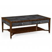 Jonathan Charles Furniture Art Deco Leather Coffee Table with Drawers