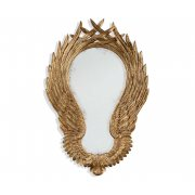 Jonathan Charles Furniture French Gold Oval Wall Mirror, Carved Winged Mirror