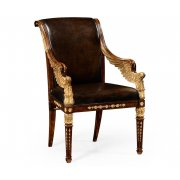 Jonathan Charles Furniture Designer Gilded Leather Armchair
