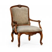 Jonathan Charles Furniture French Style Walnut Velvet Armchair