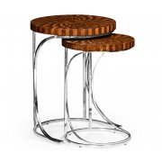 Jonathan Charles Furniture Round Nest of Tables With Steel Bases, Contemporary