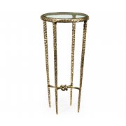 Jonathan Charles Furniture Hammered Brass Round Glass Side Table