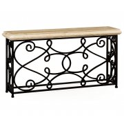 Jonathan Charles Furniture Console Table With Ornate Iron Frame 72''