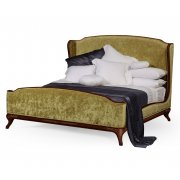 Jonathan Charles Furniture Upholstered Bed, Velvet Lime / French Bed, Super King, Mahogany