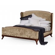Jonathan Charles Furniture French Velvet Upholstered Bed, Super Kingsize, Mahogany