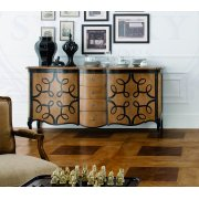 AM Classic Furniture Large Sideboard With Decorated Doors 4 Drawers