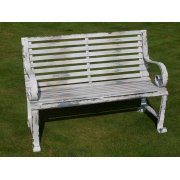 Shabby Chic Metal Bench, Distressed