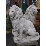 Pair of White Concrete Lion Statues