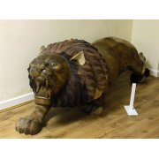 Hand Carved Wood Lion Sculpture/Teak Lion Statue, Right