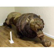 Hand Carved Wood Lion Sculpture/Teak Lion Statue, Left