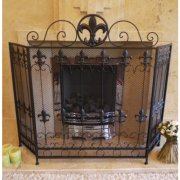 Vintage Black Iron Fire Screen/Iron 3 Panel Fire Guard