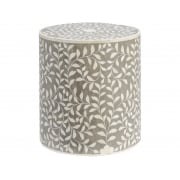 Bone Inlaid Round Stool