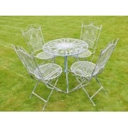 4 Seater Iron Garden Dining Set, Blue
