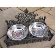 Cast Iron Raised Dog Bowls, Large