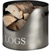 Log Holder, Pewter / Log Basket