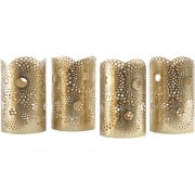 Set Of 4 Metal Gold Tealight Holders