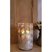 Large Metal Hanging Lantern, Cream