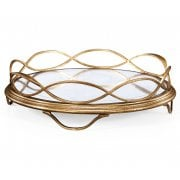 Jonathan Charles Furniture Round Gold Serving Tray With Mirror Base