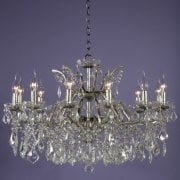 12 Light Glass Chandelier, Silver Finish