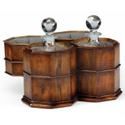 Jonathan Charles Furniture Luxury Pair of Glass Decanters in Walnut Case