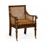 Jonathan Charles Furniture Caned Walnut Bergere Armchair In Antique Leather