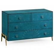 Jonathan Charles Furniture Blue Leather Chest of Drawers in 1930s Style