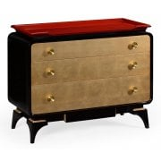 Jonathan Charles Furniture Designer Red Chest of Drawers In Oriental Style