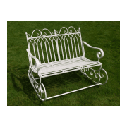 Outdoor White Rocking Bench