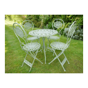 Green Round Metal Patio Garden Table 4 Chair Set