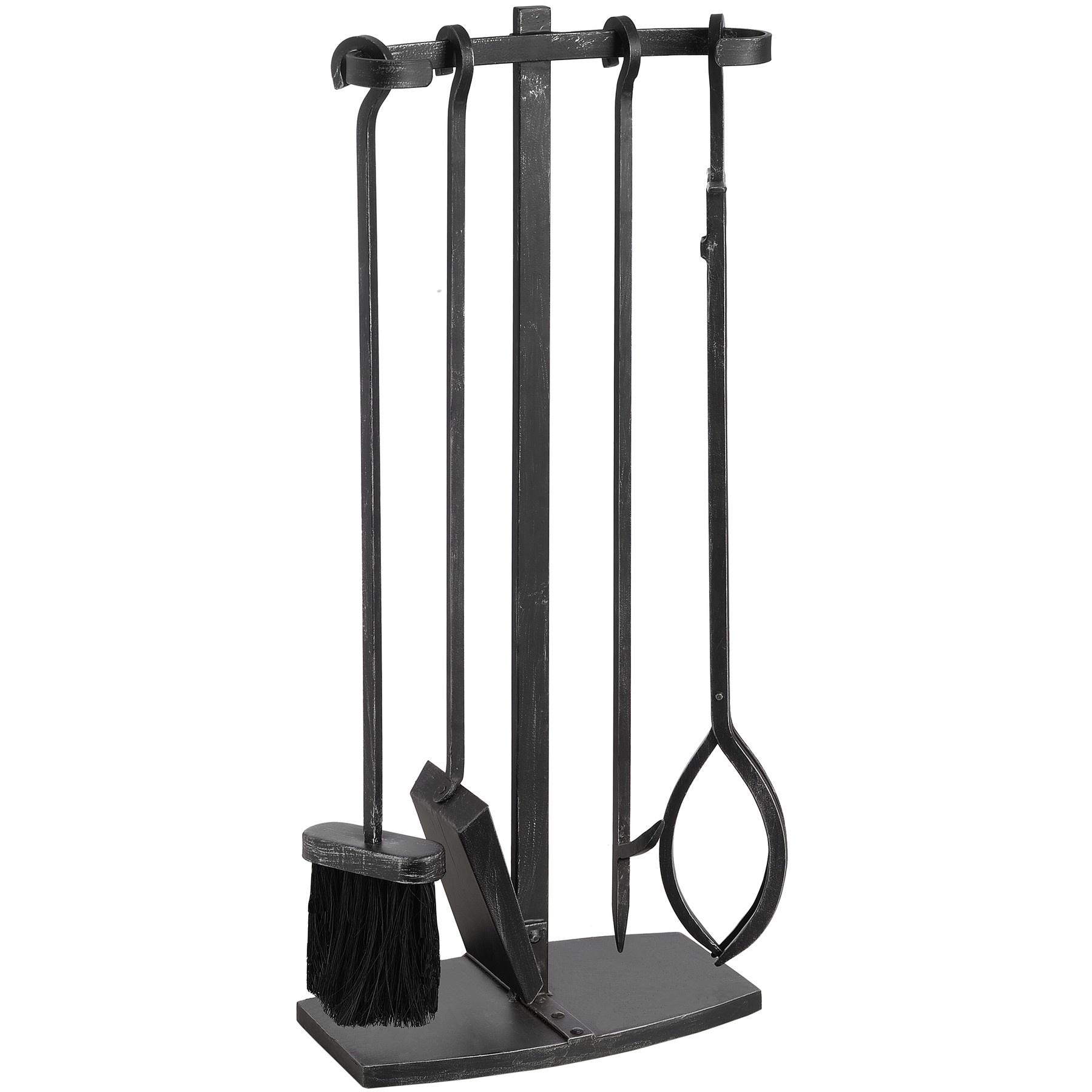 modern fireplace tools  dactus - modern black brushed steel fire companion set swanky interiors