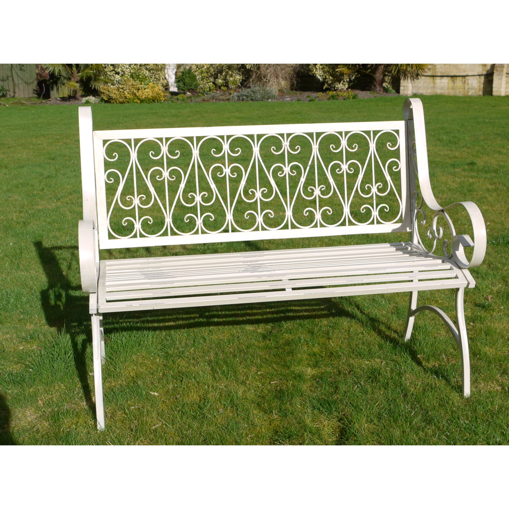 White ornate metal garden bench swanky interiors for Metal benches for outdoors