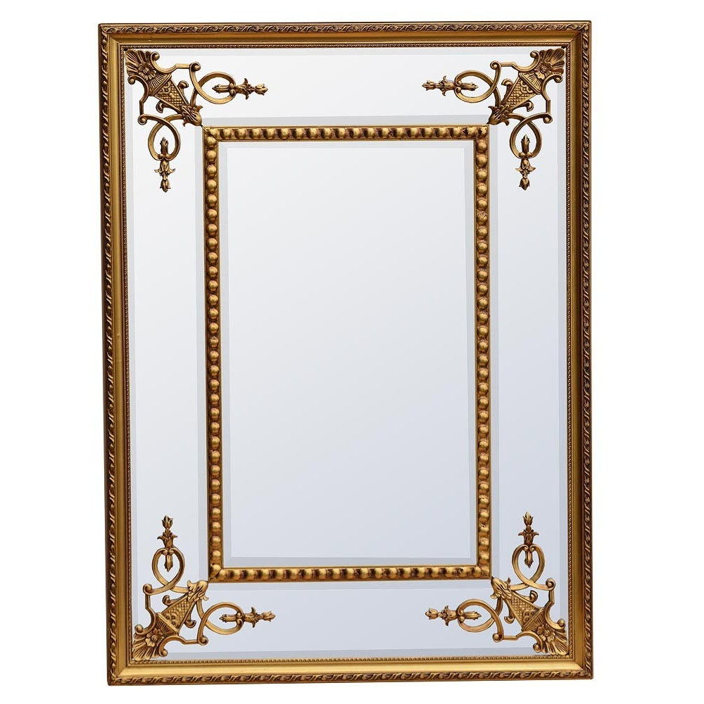 Bevelled Gold Wall Mirror Rectangular | Swanky Interiors