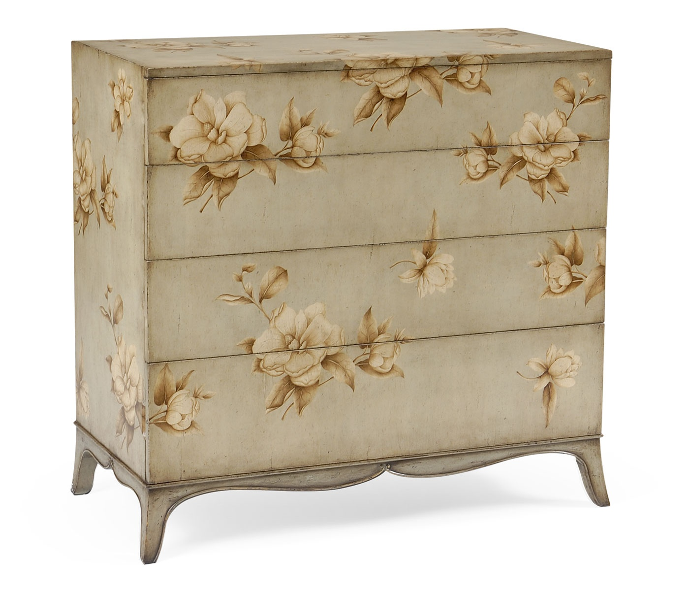 Floral Painted Grey Chest Of Drawers Swanky Interiors