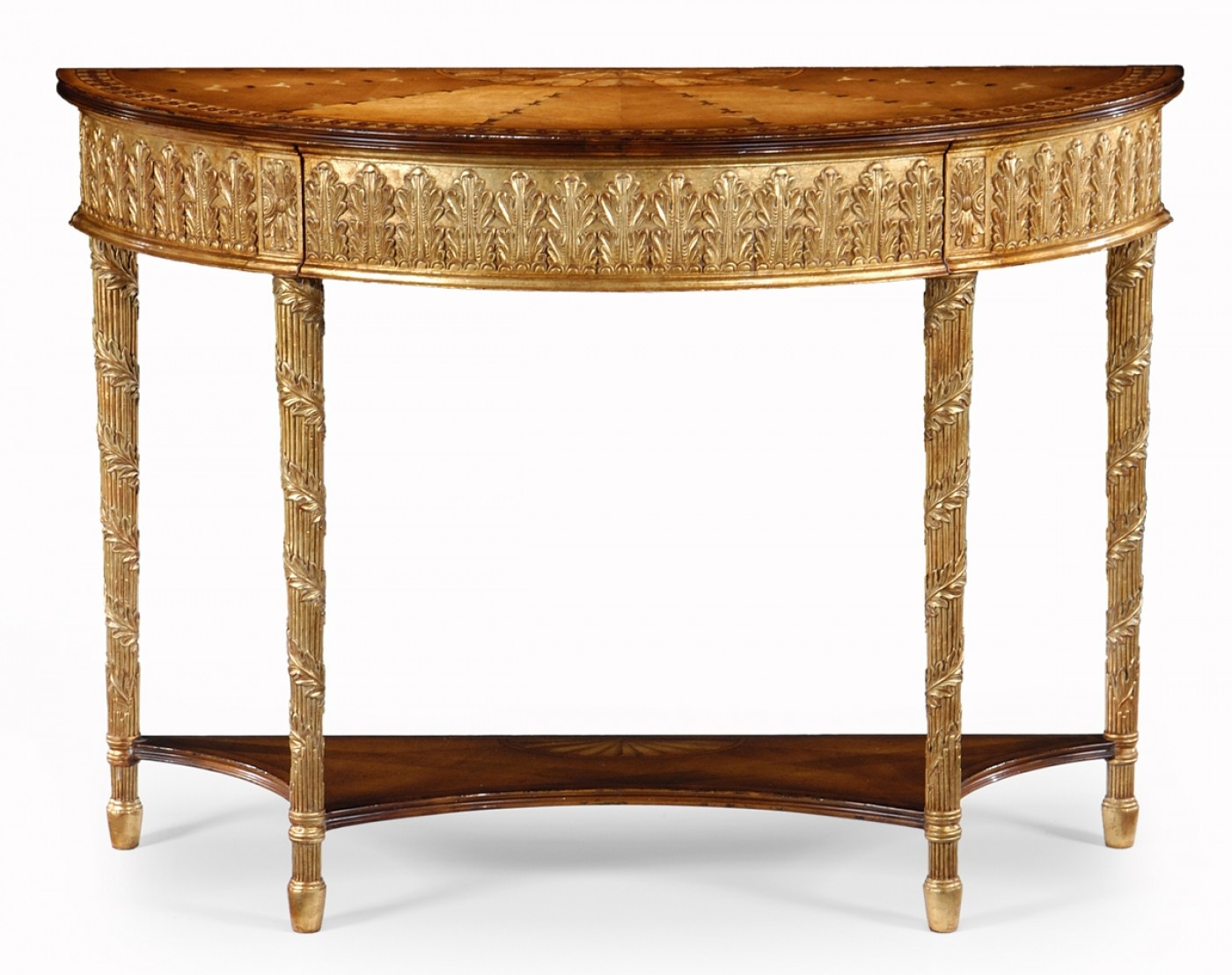 jonathan charles french gold demilune console table with drawer p