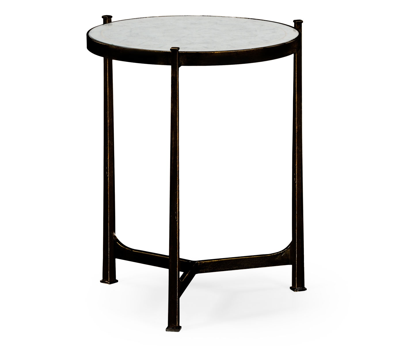 Glass Round Side Table Black Swanky Interiors