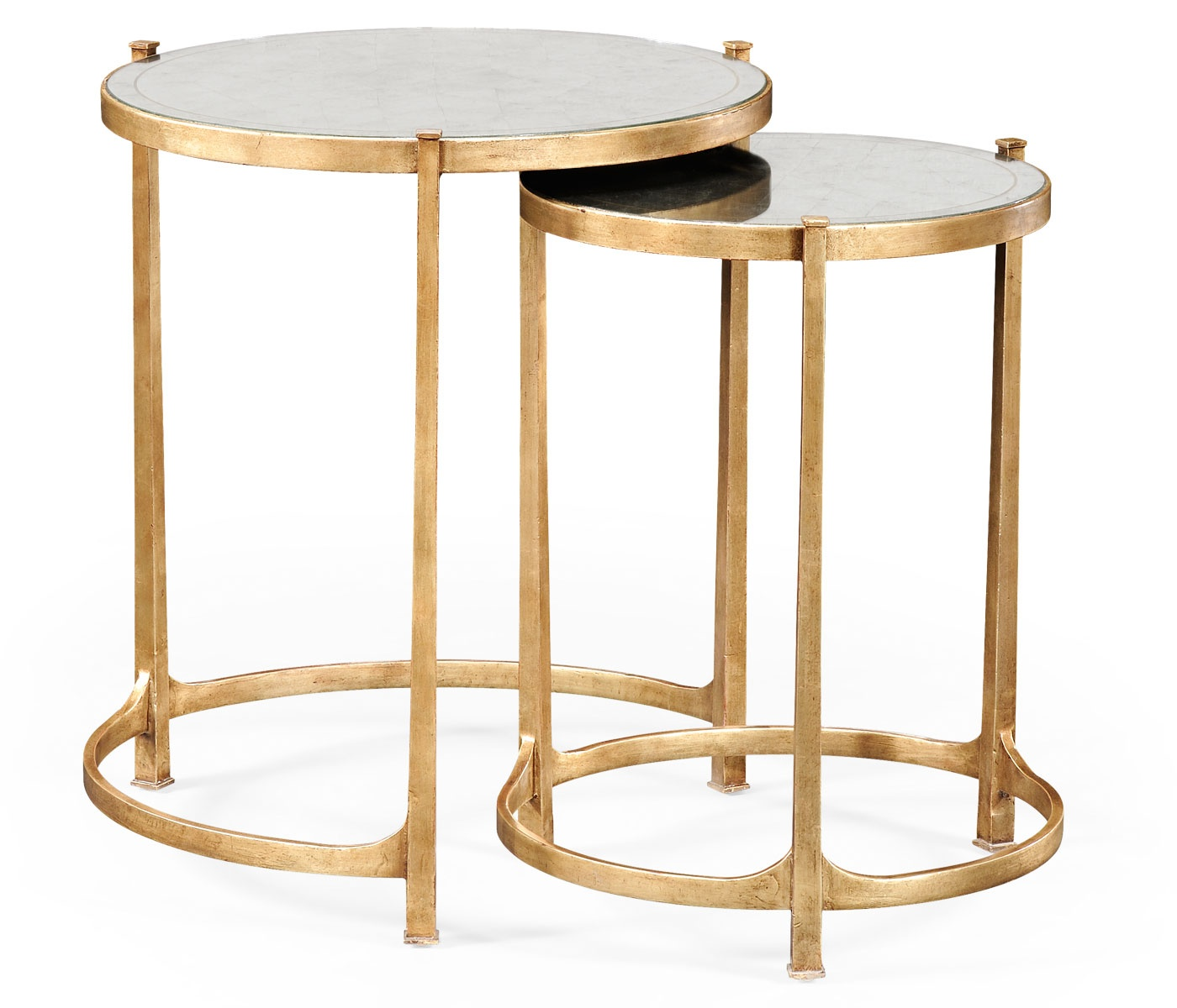Nest of mirrored tables gold swanky interiors for Occasional tables