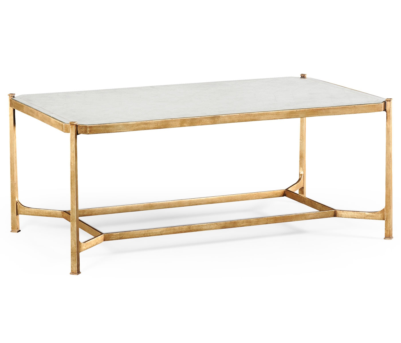 Gold Gilded Coffee Table: French Glass Gold Coffee Table