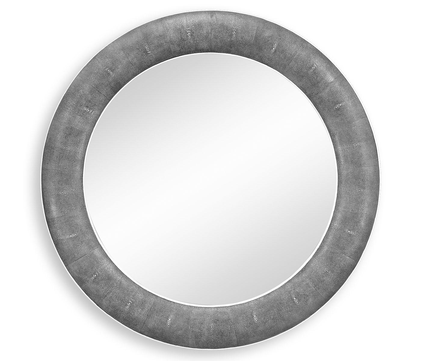 Designer Grey Leather Round Wall Mirror Swanky Interiors