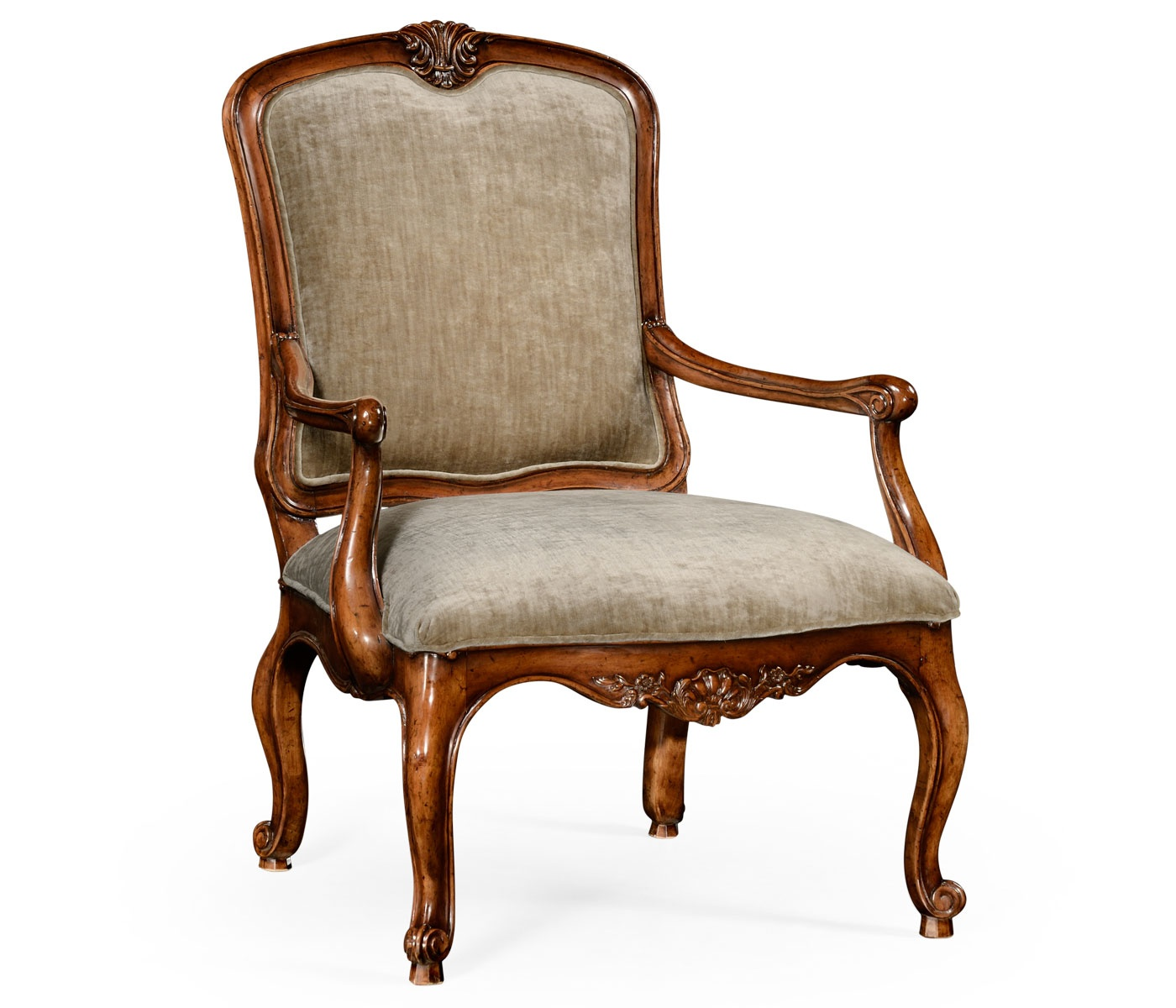 French Style Walnut Velvet Armchair | Swanky Interiors