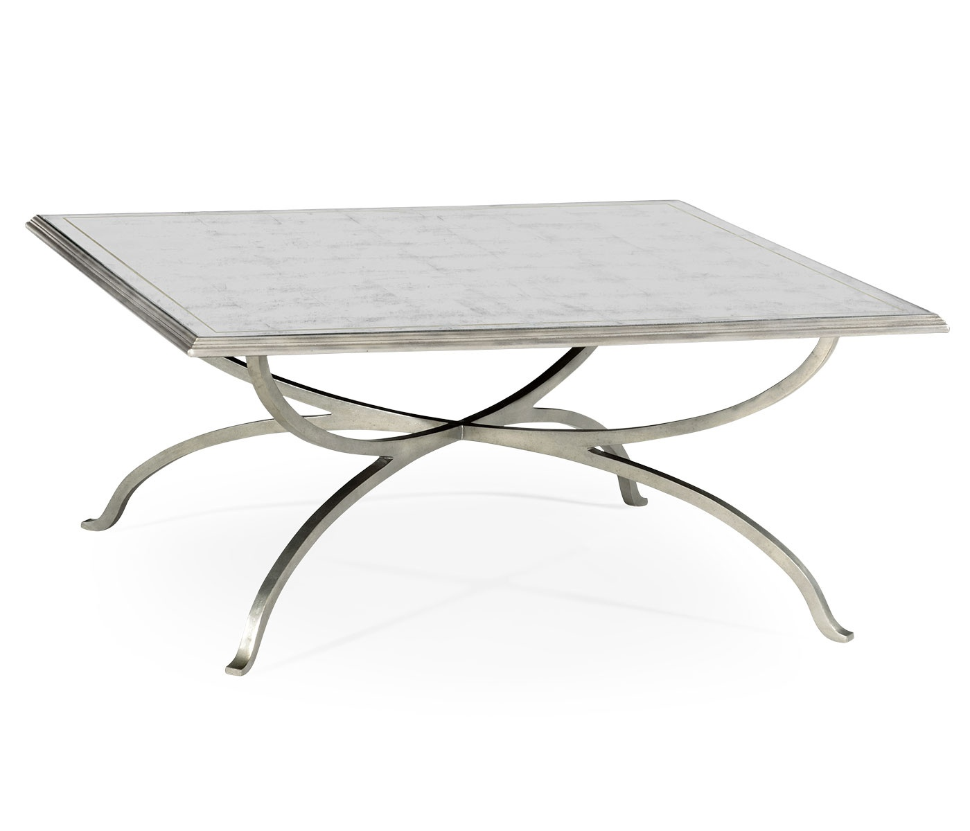Silver Glass Coffee Table Uk: French Glass Square Coffee Table, Silver